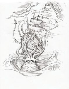 kraken and ship tattoo Octopus Tattoo Design, Octopus Tattoos, Tattoo Designs, Bear Tattoos, Arrow Tattoos, Word Tattoos, Ship Tattoo Sleeves, Sleeve Tattoos, Ankle Tattoos