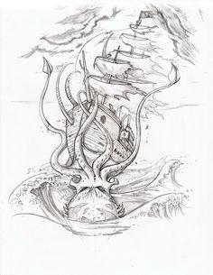 Pirate Ship Vs. Squid by arm01.deviantart.com on @deviantART