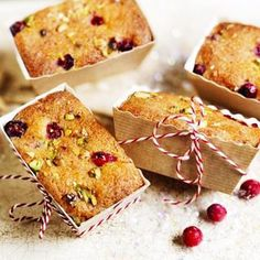 Mini cranberry, pistachio & orange drizzle loaf cakes, a delicious recipe from the new Cook with M&S app.
