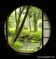 """Kyoto Moss Garden as seen through a circular """"moon window"""". So serene. isnt this nature beautiful? Moon Gate, Japan Garden, Window View, Open Window, Japanese Architecture, Futuristic Architecture, House Architecture, Japanese House, Japanese Gardens"""