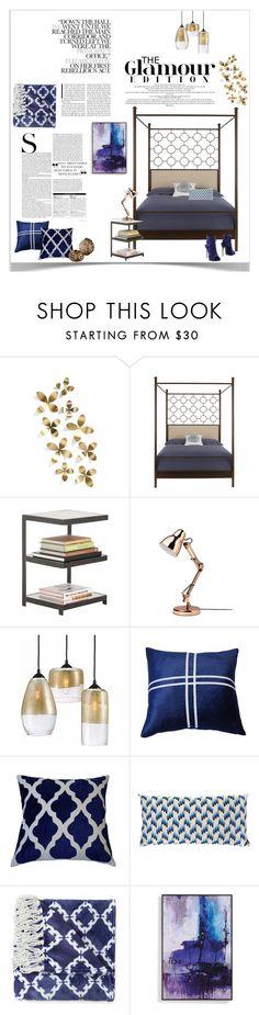 """Indigo Bedroom"" by malisha on Polyvore featuring interior, interiors, interior design, home, home decor, interior decorating, Umbra, Theo & Joe, Missoni Home and Eva Longoria Home"