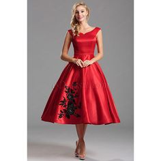 Off Shoulder Red Party Dress with Floral Embroidery (X04161102) ($130) ❤ liked on Polyvore featuring dresses, off shoulder cocktail dress, red dress, off shoulder dress, red off the shoulder dress and embroidered flower dress
