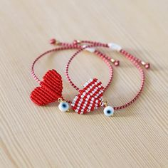 Greek martakia march bracelet red and white bracelet Evil Eye Jewelry, Evil Eye Bracelet, Heart Bracelet, Heart Jewelry, Crystal Bead Necklace, Blue Necklace, Crystal Beads, Braided Bracelets, Love Bracelets