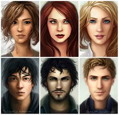 Characters from The Lunar Chronicles by Marissa Meyer | From top left to right: Cinder, Scarlett, Cress, Prince Kai, Wolf and Captain Thorne. Art by lostie815 at DeviantArt.