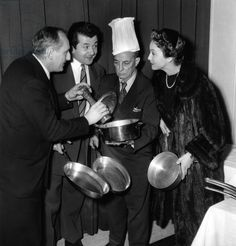 Bourvil, Jean Richard Keaton and Gisele Pascal January 7, 1954 (b/w photo)