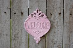 Pink shabby chic welcome sign