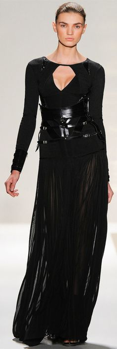 Herve Leger by Max Azria *from Vogue Italia* ....loveee the pleated chiffon maxi skirt and leather corset belt; the details and seams on the shirt are amazing!
