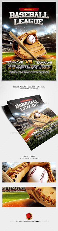 Baseball League Flyer #Monday night #field • Download ➝ https://graphicriver.net/item/baseball-league-flyer/21285131?ref=pxcr