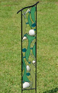 Large Stained Glass Beach Art, Yard Art, Beach Decor, Garden Sculpture, Garden  Decor, Glass Garden Art, U0027Ocean Treasuresu0027