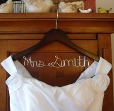 Wedding Hanger one Line personalized Bridal Hanger Brides Elegant Wedding Gowns, Wedding Gowns With Sleeves, Evening Dresses For Weddings, Modest Wedding Dresses, Colored Wedding Dresses, Tulle Wedding, Rustic Wedding, Bride Hanger, Wedding Dress Hanger