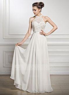 A-formet/Prinsesse Scoop Hals Gulvlengde Chiffong Charmeuse Blonder Brudekjole med Perlebesydd Paljetter (002056982)