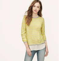 Striped Two In One Sweater - We're drawn to the two-in-one illusion of this fresh striped piece. Crew neck. Long sleeves. Woven shirttail hem. Ribbed neckline, cuffs and sweater hem. Size small