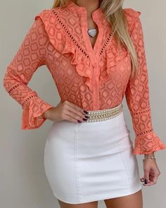 Style:Fashion Pattern Type:Patchwork Material:Lace Neckline:Round Neck Sleeve Style:Long Sleeve Decoration:Ruffles Length:Regular Occasion:Casual Package Blouse Note: There might be Blouse Styles, Blouse Designs, Trend Fashion, Womens Fashion, Fashion Brands, Fashion Ideas, Lace Button, Pattern Fashion, Ruffles