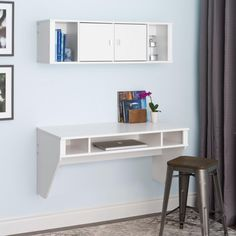 Floating Desk With Hutch Made Of Wood In White Finished Under Wall Mounted…