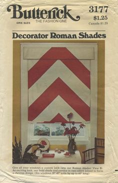 "Vintage Sewing Pattern for Decorator Roman Shades | Butterick 3177 | Year 1973 | Fits windows 28-40"" wide by up to 60"" long with an 8"" valance"