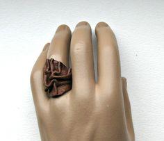 Ringen - Bruin leren ring - Een uniek product van Artables op DaWanda