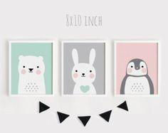 Imprimibles infantiles arte conjunto de 3 habitación bebé Poster arte de la pared Kids salón de decoración animales de menta gris Rosa oso conejo pingüino impresión 8 x 10, 30x45cm
