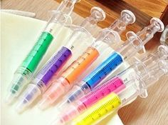 These syringe HIGHLIGHTERS ($2.50). | 27 Legit Cool Gifts That Look Like Pranks.  For the RN's that love me - Sarah, Lorraine etc.