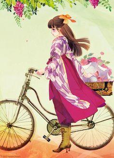 Art (beautiful art) by Matsuo Hiromi Japanese Illustration, Manga Illustration, Illustrations, Kimono Design, Painting Of Girl, Japanese Outfits, Animes Wallpapers, Manga Girl, Asian Art