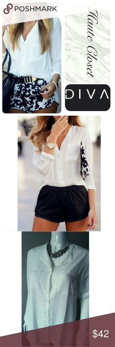 Classic White Blouse There's nothing like the perfect go-to necessity item in your wardrobe. From the office to the downtown streets, a chic white blouse can take you very far in life and this one is certainly no exception! Beautiful collarless white blouse; casual relaxed fit. New Tops Blouses