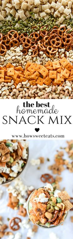 Homemade Sweet and Spicy Snack Mix. It's the BEST! I howsweeteats.com @howsweeteats