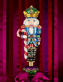 Jay Strongwater Nutcracker with Candy Cane Glass Figurine - Jewel