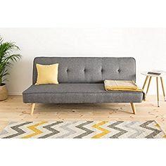 Sofa aufklappbar mit Schlaffunktion Wohnzimmer stabil und robust (grau): Amazon.de: Küche & Haushalt