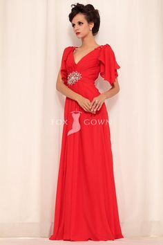 red a-line floor length empire v-neck flutter-sleeve beaded pleated chiffon prom dress