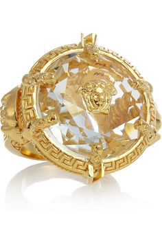 #Versace | Oversized gold-plated crystal ring
