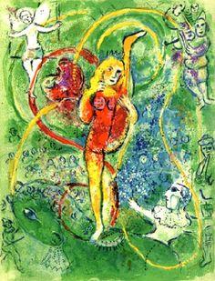 Marc Chagall - Le Cirque, Plate IV. Color Litograph.