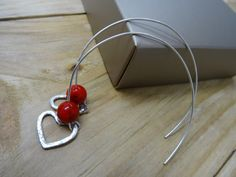 RED HEART HOOPS  Hammered sterling silver flat heart and by St8it