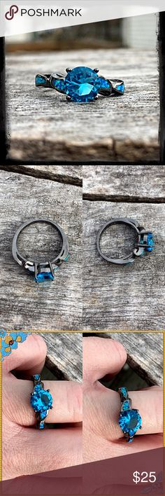 Blue Sapphire/Fire Opal Black Gold Ring! NEW! Blue/teal sapphire and fire opal - both man made. Stamped 10K black gold. NWOT only worn to model. Boutique Jewelry Rings