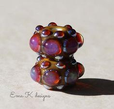 Magenta Jewels handmade lampwork beads by Ema Kilroy sra earring pair Bejeweled Series of beads