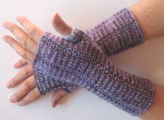 Fingerless Gloves Purple Violet Gray wrist warmers by Initasworks on Etsy