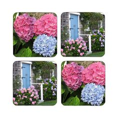 """Hydrangea Coaster Set Beverage Coasters  Size: 1/8 thick Set of Four (4) Each coaster measures 3.75"""" square with rounded corners"""