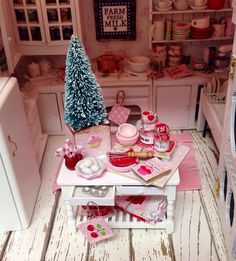 Dollhouse MiniatureChristmas Pink and Red by RibbonwoodCottage, $87.00