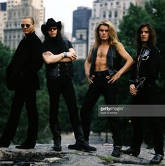 Left to right are drummer Matt Sorum, singer Ian Astbury, guitarist Billy Duffy and bassist Jamie Stewart of British band The Cult in New York City on July 26, 1989.