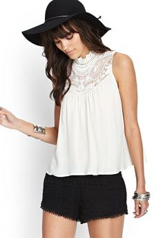Embroidered Crochet Tank