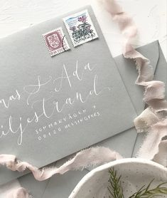 Slate grey envelopes with white address lettering for minimalist nordic style scandinavian wedding invitations Nordic Wedding, Scandinavian Wedding, Calligraphy Envelope, Modern Calligraphy, Luxury Wedding, Boho Wedding, Invites, Wedding Invitations, Nordic Style