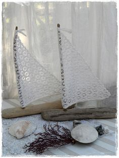 Nice Large Pair Driftwood Beach Decor Sailboats Vintage White Crocheted Lace Sails Coastal Decor Beach Themed Lakeside Wedding Decorations