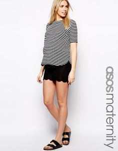 ASOS Maternity   ASOS Maternity Linen Shorts With Scallop at ASOS