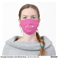Grumpy monster cute illustration washable pink cloth face mask #mouthmaskfashion #mouthmaskusa #mouthmaskscanada #mouthmasksottawa #mouthmaskstoronto #washablemouthmasks #pinkmouthmasks #washableclothmouthmasks #washablemouthmasksusa #clothmouthmasksusa #clothmouthmaskscanada #piccograndemouthmasks #monstermouthfacemasks #funpattern #cutemonster #custommouthmasksusa #custommouthmaskscanada #uniquemouthmasksonline #zazzlemouthmasks #popularmouthmasks #mouthmasksforhim #artsymouthmasksusa Contour, Shape Of You, Turquoise, Ear Loop, Violet, Adulting, Clothing Patterns, Sensitive Skin, Tapas