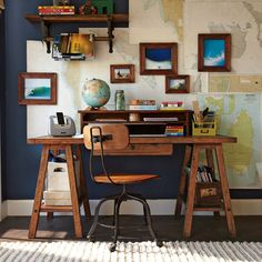 home office, maps, dark blue, natural wood, trestle desk Home Office, Office Decor, Office Workspace, Casa Loft, Sweet Home, My Ideal Home, New Room, Room Decor, House Design