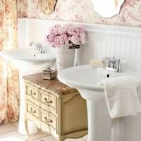 FRENCH COUNTRY COTTAGE: Bedding & Inspirations  Like the separate sinks and the wall paneling