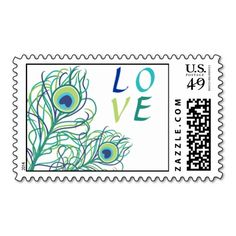 =>quality product          	Peacock Feather LOVE Postage Stamps…