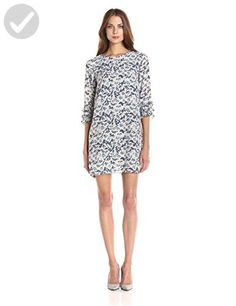 Bcbgeneration Women's Shift Dress With Ruffle Sleeve, Blue Lagoon Combo, L - All about women (*Amazon Partner-Link)