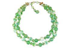 Hattie Carnegie Green Art Glass Necklace on OneKingsLane.com