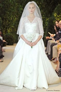 Lace and satin sleeve wedding dress, Carolina Herrera Spring 2014 Bridal Collection Wedding Dresses 2014, Wedding Attire, Bridal Dresses, Wedding Gowns, Gorgeous Wedding Dress, Beautiful Dresses, Carolina Herrera Bridal, Carolina Herrera Wedding Dresses, Dress Vestidos