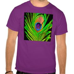 Neon Colors Peacock Feather T Shirt by Lee Hiller