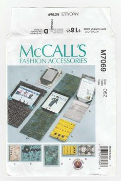 E-Book Reader, Tablet Cover / Stand in Three Sizes for Electronic Devices Sewing Pattern, Whistle Pig Creek Productions Uncut McCall's M7069